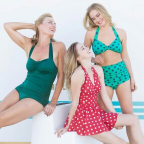 "Classic Sheath, Two-Piece Classic, One-Piece Marilyn, One-Piece Swimdress.  In sizes 4-26W. Easy Exchanges and Returns. ""Great Customer Service!"""