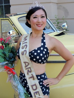 "Cindy Lu wearing her Two-Piece Black with White Dots as San Francisco's ""Miss Art Deco 2014"""