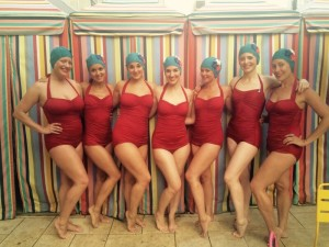 "The Brooklyn Peaches Synchronized Swim Troupe in the Classic Sheath in Red. The Peaches say: ""They fit so well and make us feel confident and glamorous!"""