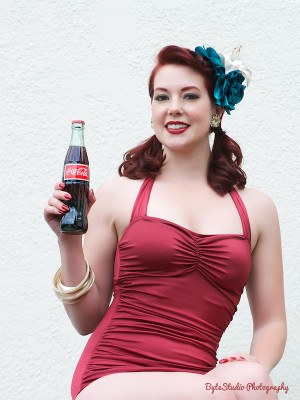 Holly in her Classic Sheath in Solid Red taken for a Pinup Angel photoshoot.
