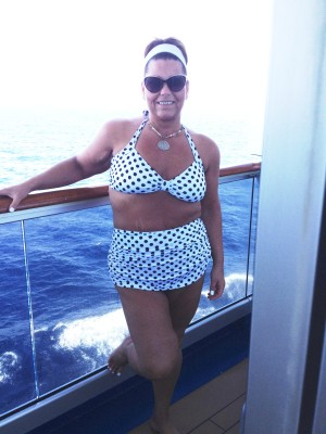 "Libby in her Two-Piece Classic in White with Black Dots. Libby says: ""Never have I owned a bathing suit I felt so comfortable in!"""
