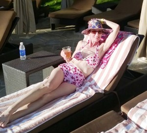 "Michele in her Two-Piece Cherries Delight Pink relaxing at the Grand Hyatt Kaua'i. Michele says: ""My second swimsuit from your wonderful selection; once again, many compliments!"""