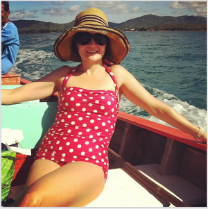 "Paula in her Classic Sheath in Red and White Dots on holiday in Thailand. Paula says: ""I am about to purchase my second one piece - love them so much!"""
