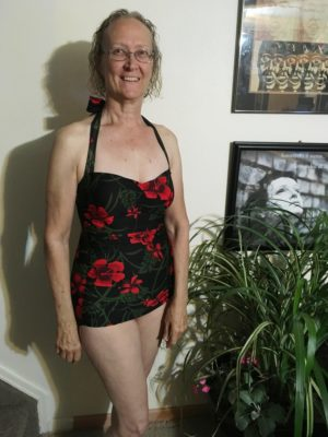 "Rebecca in her Rouge Hibiscus Classic Sheath: Rebecca says, ""I love my swimsuit! It fit's perfectly! Thanks, Esther Williams!!"