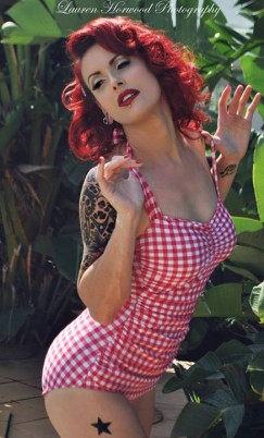 Suz in her Classic Sheath in Red and White Gingham -- Suz says: I LOVE your swimwear & chose 3 of your beautiful swimmers for a shoot I did last month. Lauren Horwood Photography did the photography & Dolls & Dames makeup & hair.