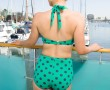 Two-Piece Classic Jade/Navy Dots