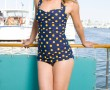 One-Piece Classic Sheath Navy/Yellow Dots