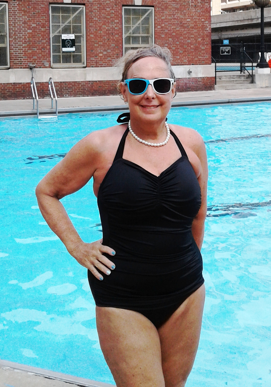 63cd5de7c4 Jane in her Black Classic Sheath: Jane is a world class swimmer and an  educator