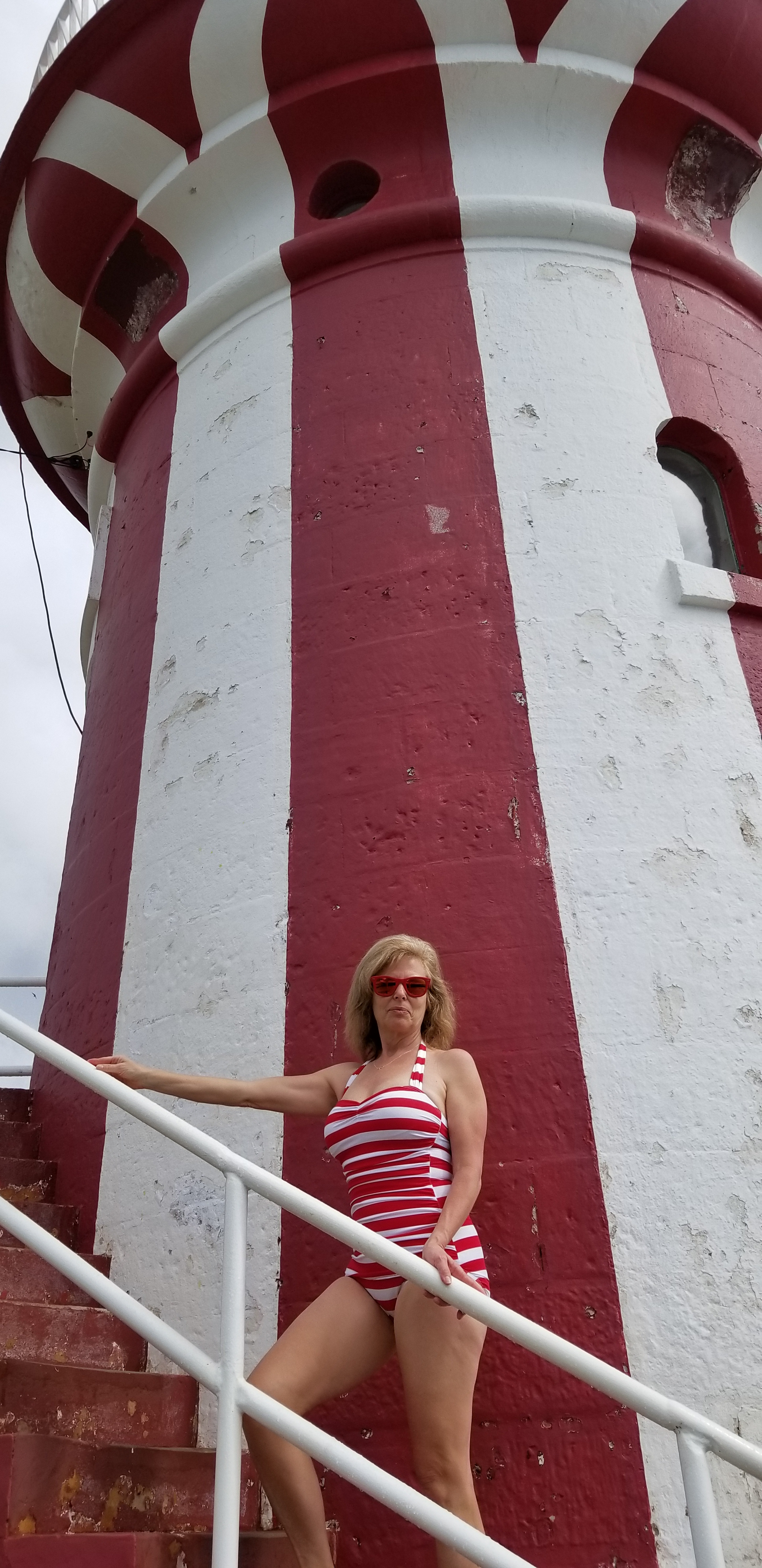 44820493f35b2 Julie in her Red and White Striped Classic Sheath at Hornby Lighthouse in  Watson's Bay,